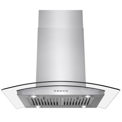 AKDY 30 in. Convertible Kitchen Island Mount Range Hood in Stainless Steel with Push Control, Silver
