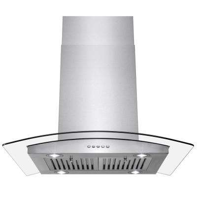 30 in. Convertible Kitchen Island Mount Range Hood in Stainless Steel with Push Control