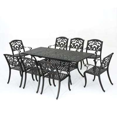Abigal Shiny Copper 9-Piece Aluminum Rectangular Outdoor Dining Set
