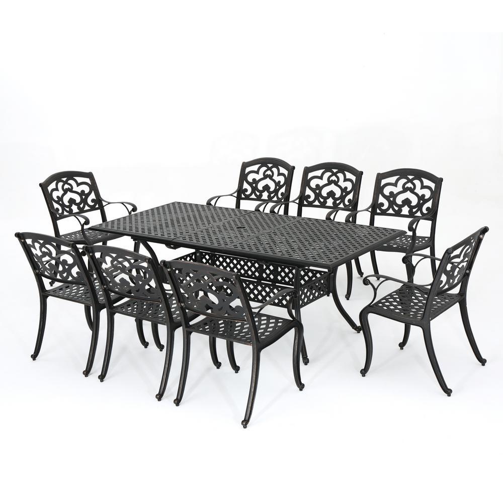 Abigal Shiny Copper 9-Piece Aluminum Rectangular Outdoor Dining Set