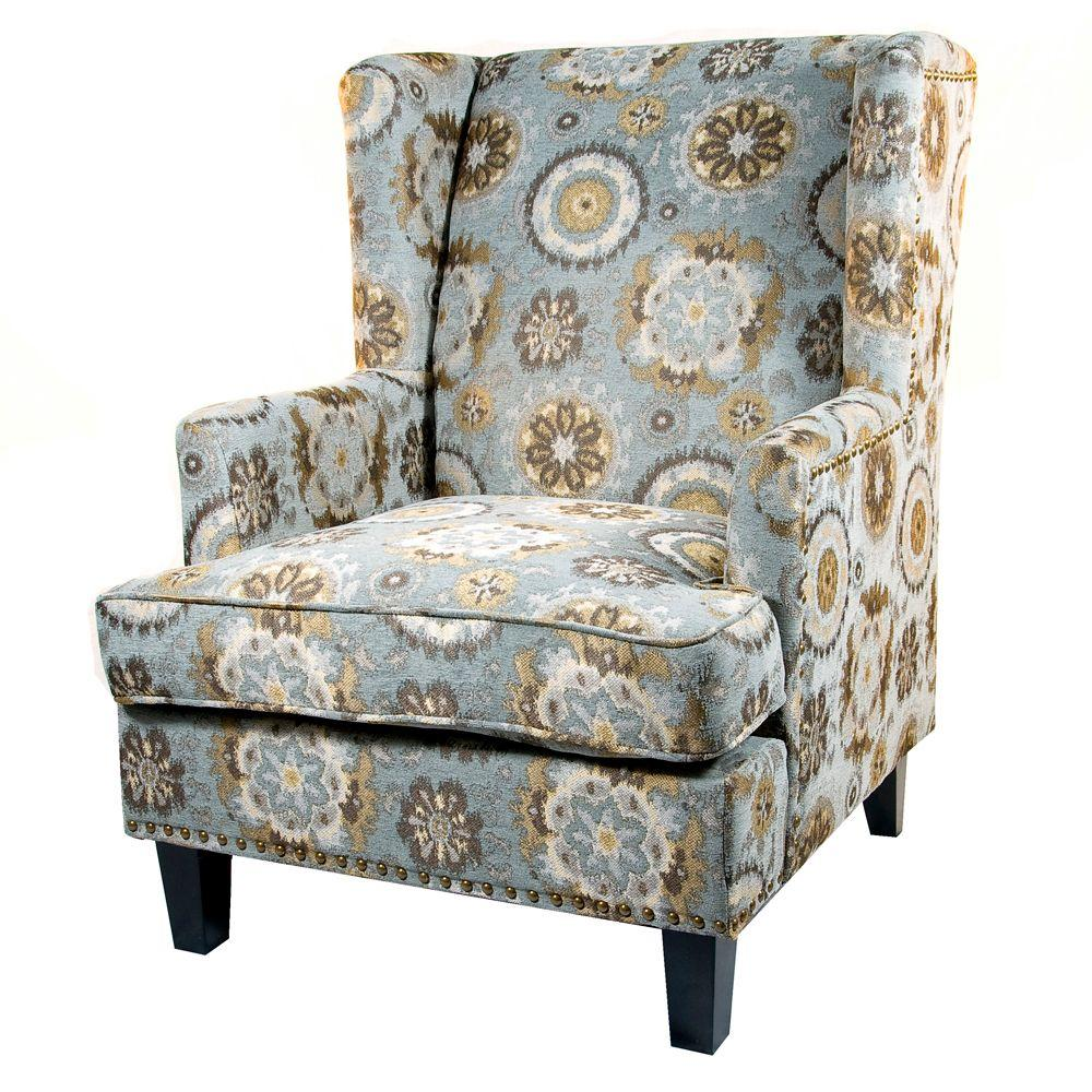 Home Decorators Collection Vincent Glacier 29 in. W Wing Back Chair