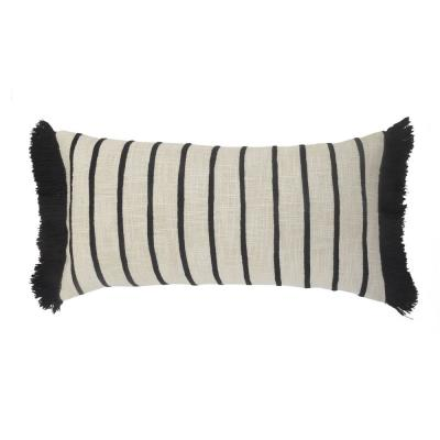Fringed Ivory and Black Striped Cuddle Poly-Fill 28 in. x 12 in. Throw Pillow