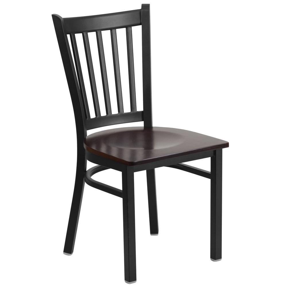 Walnut Wood Seat/Black Metal Frame Metal Side Chair