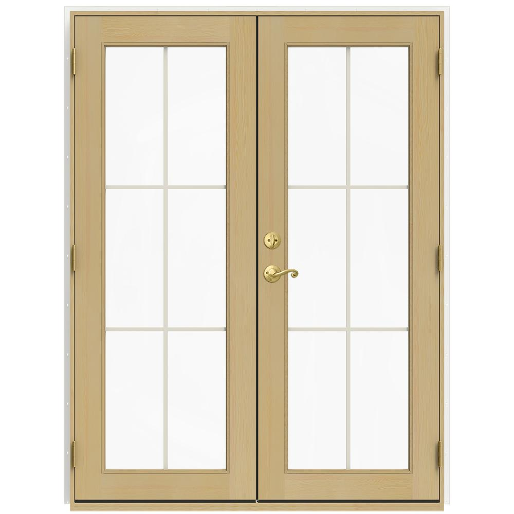 Jeld wen 60 in x 80 in w 2500 white clad wood left hand 6 lite french patio door w unfinished for Jeld wen french doors interior