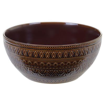 Multi-Colored 152 oz. Aztec Brown Deep Bowl