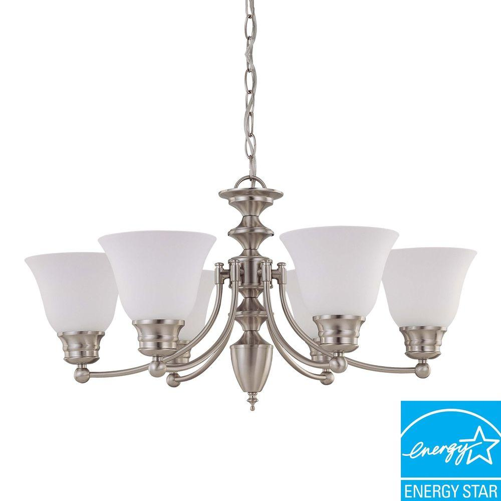 Green Matters Empire 6-Light Brushed Nickel Hanging Chandelier