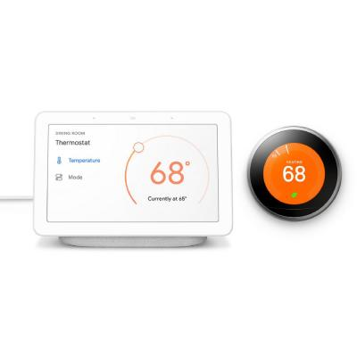 Nest Hub Chalk + Nest Learning Thermostat 3rd Gen in Stainless Steel