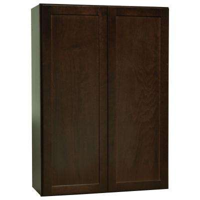 Shaker Assembled 30x42x12 in. Wall Kitchen Cabinet in Java