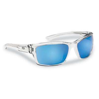 Cove Polarized Sunglasses Crystal Frame with Smoke in Blue Mirror Lens