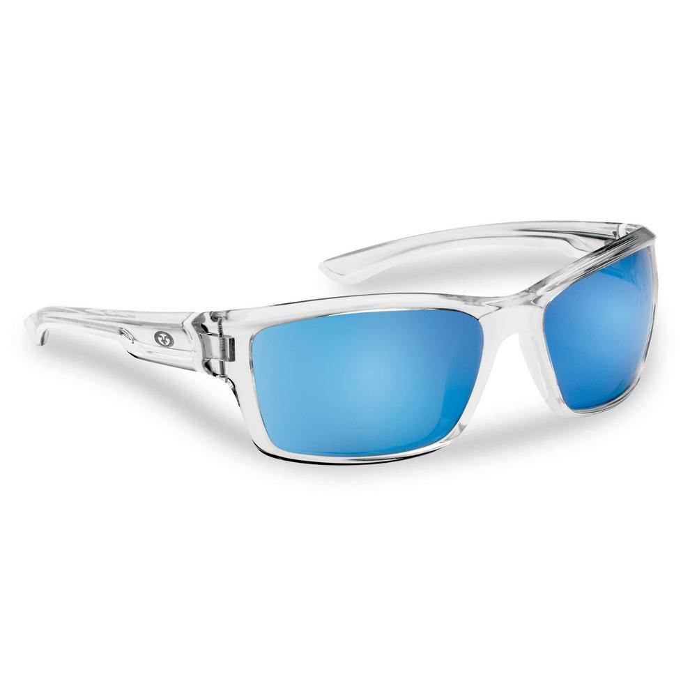 aba3d8771e46 Flying Fisherman Cove Polarized Sunglasses Crystal Frame with Smoke in Blue  Mirror Lens