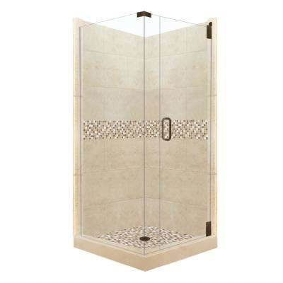 Roma Grand Hinged 38 in. x 38 in. x 80 in. Right-Hand Corner Shower Kit in Brown Sugar and Old Bronze Hardware
