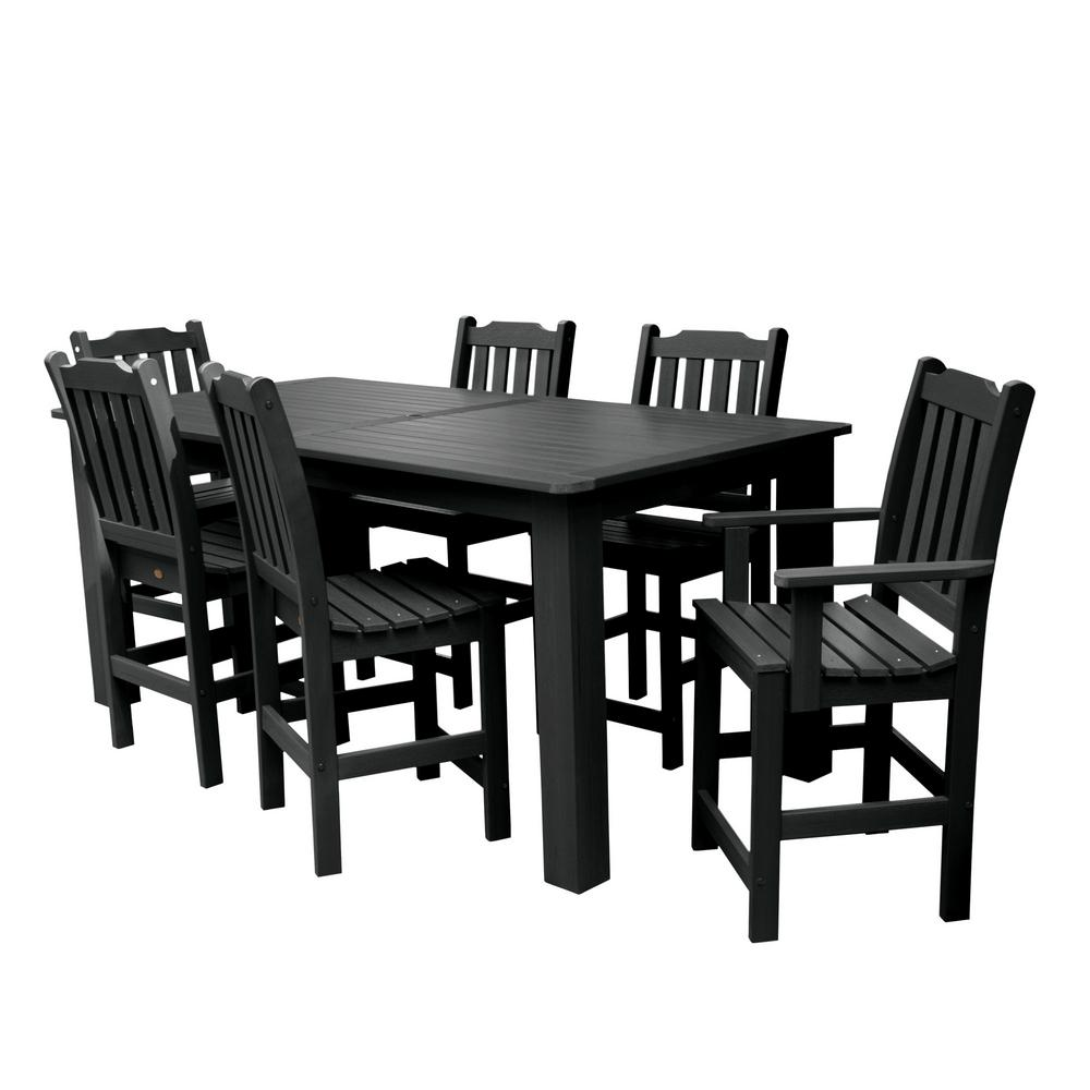 Highwood Lehigh Black 7 Piece Recycled Plastic Rectangular Outdoor Balcony Height Dining Set Ad St7lh2co5ba Bke The Home Depot