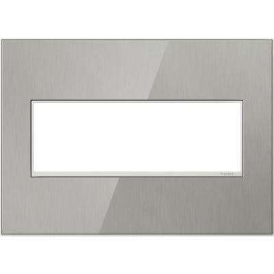 3 Gang 3 Module Wall Plate, Brushed Stainless
