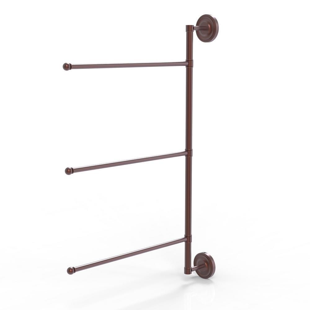 Prestige Regal Collection 3 Swing Arm Vertical 28 in. Towel Bar in Antique Copper