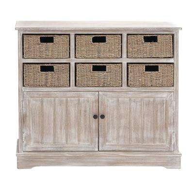 35 in. x 38 in. Classic Pine Wood and MDF Basket Cabinet in Distressed White