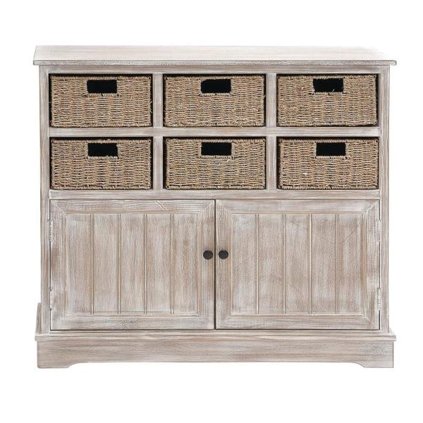 Litton Lane 35 in. x 38 in. Classic Pine Wood and MDF Basket Cabinet in Distressed White