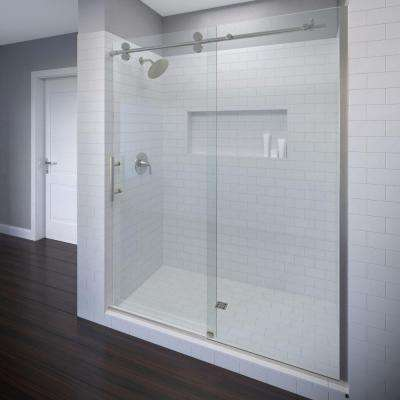 Vinesse Lux 47 in. x 76 in. Semi-Frameless Sliding Shower Door and Fixed Panel in Brushed Nickel