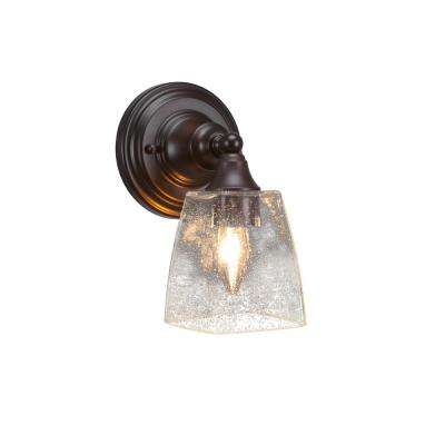 6.75 in. Espresso Sconce with 4.5 in. Clear Bubble Glass