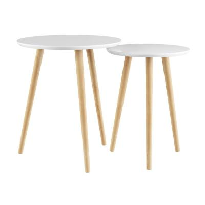 Wooden Nesting Round Tray Top White and Natural Side Tables (Set of 2)