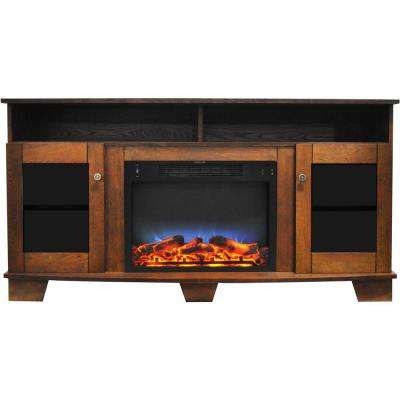 Savona 59 in. Electric Fireplace in Walnut with Entertainment Stand and Multi-Color LED Flame Display