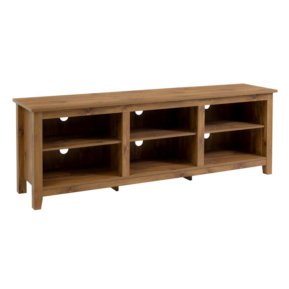 Barnwood 70 in. Barnwood MDF TV Stand 70 in. with Adjustable Shelves