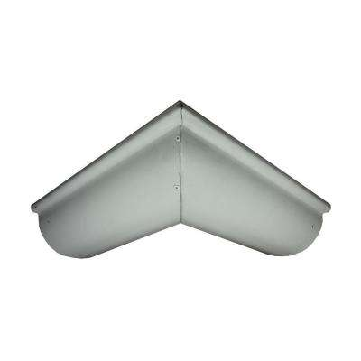 6 in. Half Round Low Glass White Aluminum Outside Miter