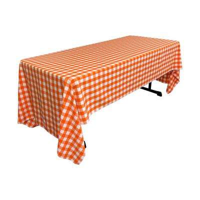 60 in. x 120 in. White and Orange Polyester Gingham Checkered Rectangular Tablecloth