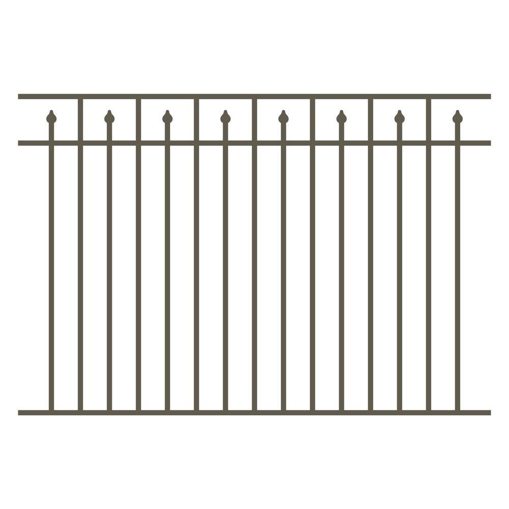 Allure Aluminum 4.5 ft. H x 6 ft. W Aluminum Bronze Unassembled Provincial Single 3-Rail Fence Panel