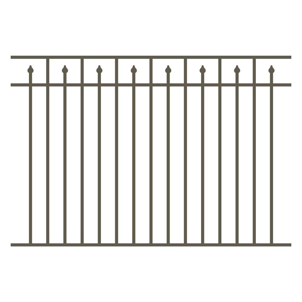 Allure Aluminum 4.5 ft. H x 6 ft. W Aluminum Bronze Unassembled Provincial 3-Rail Fence Section (4-Pack)