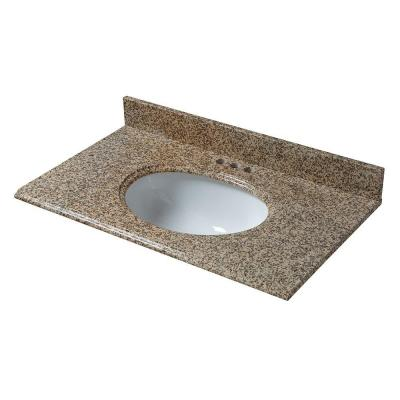 25 in. x 22 in. Granite Vanity Top in Montesol with White Bowl and 4 in. Faucet Spread