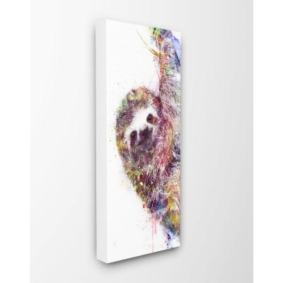"10 in. x 24 in. ""Minimal Sloth Painterly Watercolor Abstract ""by Artist VeeBee Canvas Wall Art"