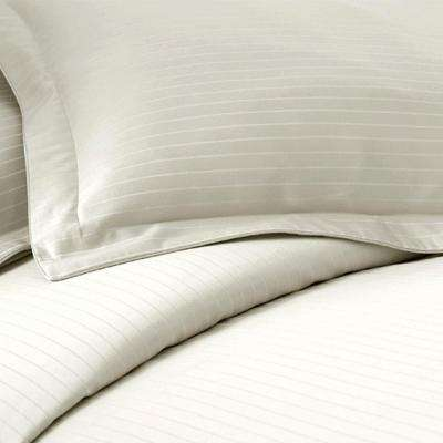 Ivory 800-Count Damask Stripe 3-Piece Queen Duvet Cover Set
