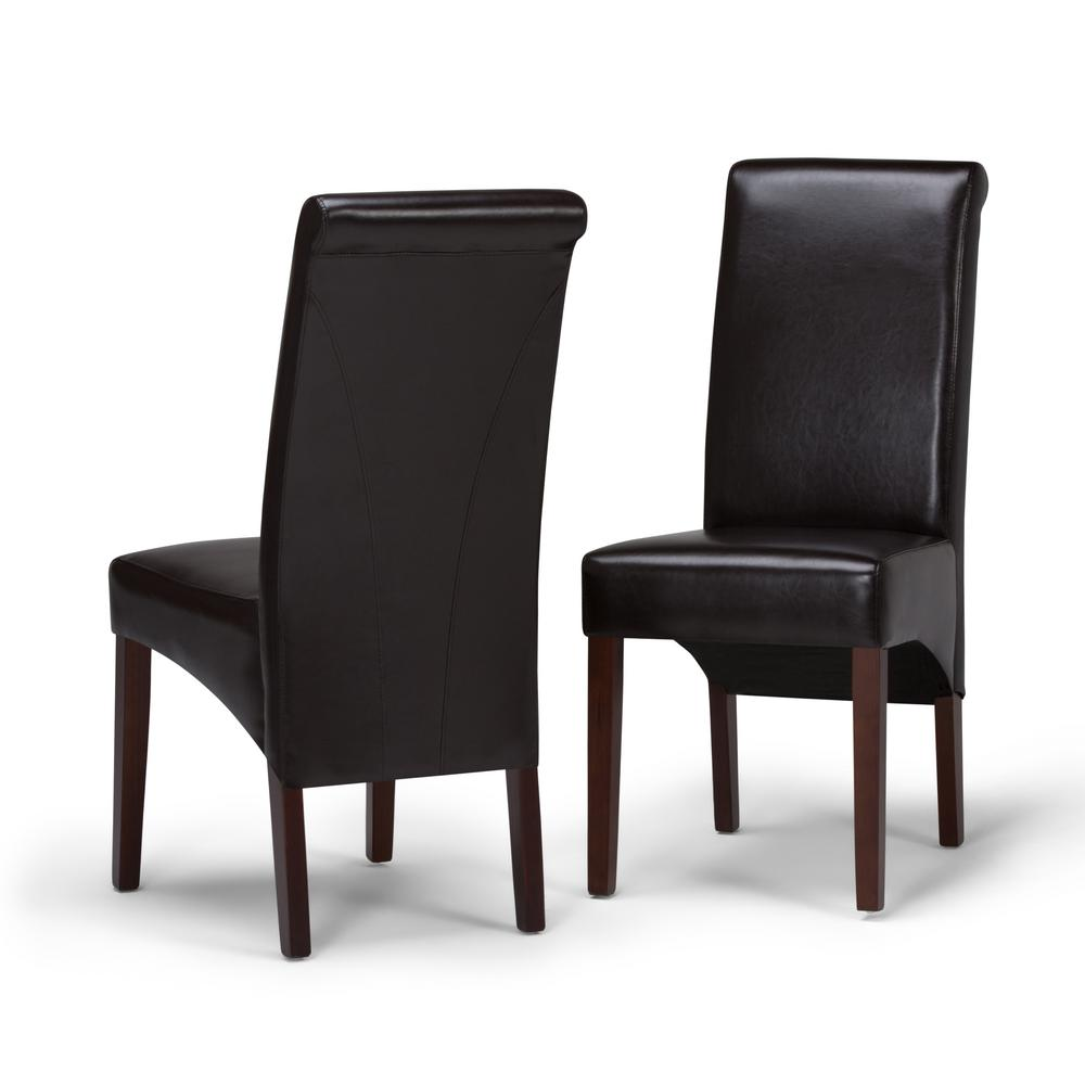 Simpli home avalon tanners brown faux leather parsons dining chair set of 2