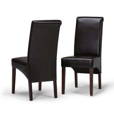 Avalon Contemporary Deluxe Parson Dining Chair (Set of 2) in Tanners Brown Faux Leather