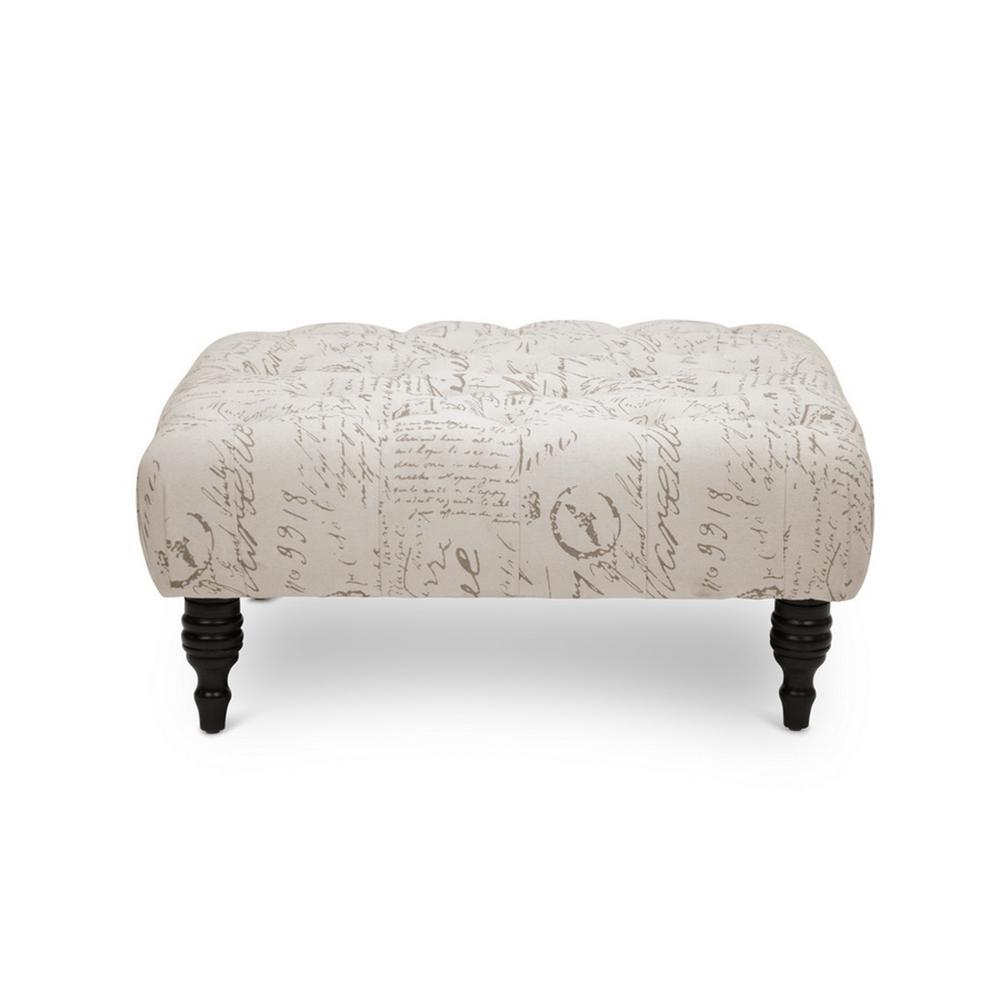Keswick Traditional Print Fabric Upholstered Ottoman