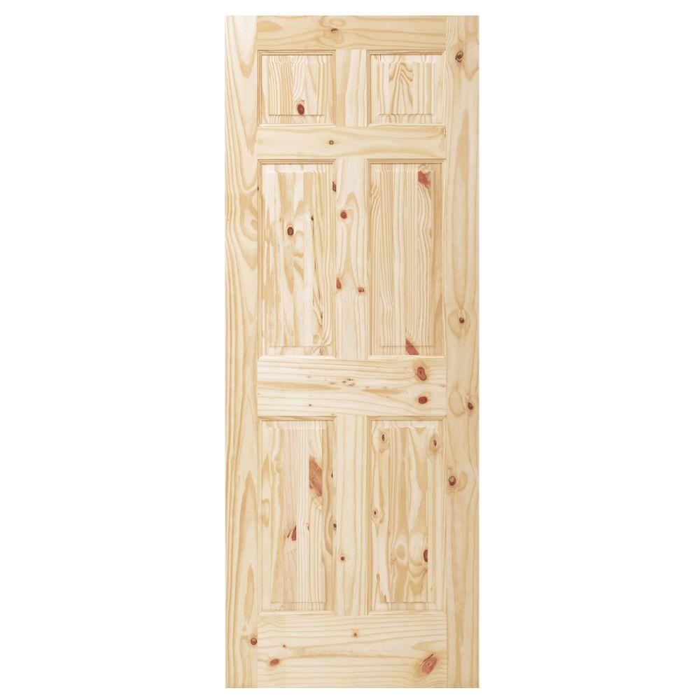6 Panel Unfinished Knotty Pine Interior Door Slab