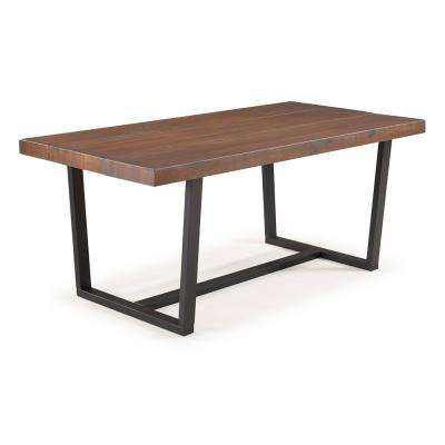 72 in. Mahogany Rustic Urban Industrial Farmhouse Distressed Solid Wood Dining Table