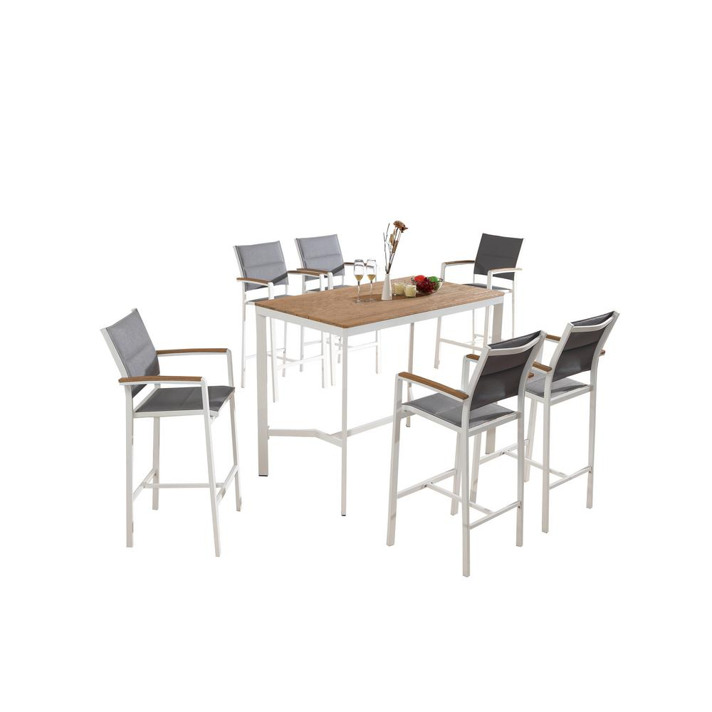 White Wood Dining Set: S'DENTE Vitt White Wood And Sling 7-Piece Patio Bar Height