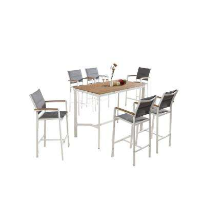 Vitt White Wood and Sling 7-Piece Patio Bar Height Dining Set