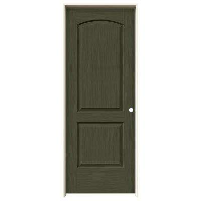 30 in. x 80 in. Continental Juniper Stain Left-Hand Solid Core Molded Composite MDF Single Prehung Interior Door