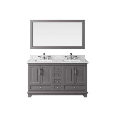 60 in. Vanity in Taupe Grey with Marble Vanity Top in Carrara White with White Basin and Mirror