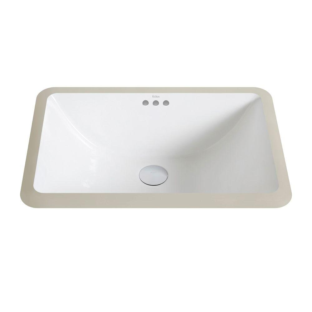 Elavo Small Rectangular Ceramic Undermount Bathroom Sink in White with Overflow