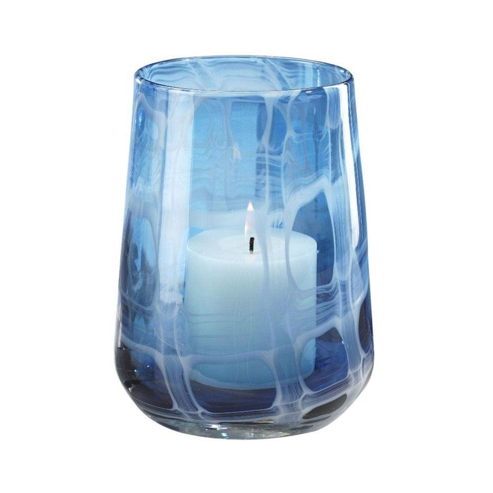 Home Decorators Collection Seaside Blue 10.25 in. H Hurricane Candleholder