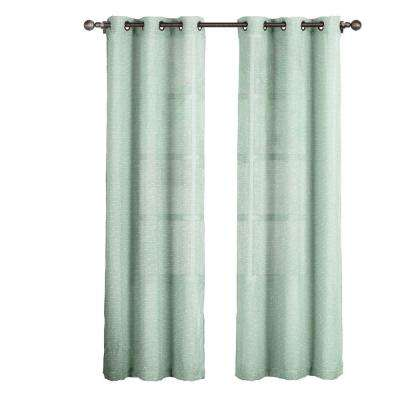 L Grommet Curtain Panel Pair, Aqua (