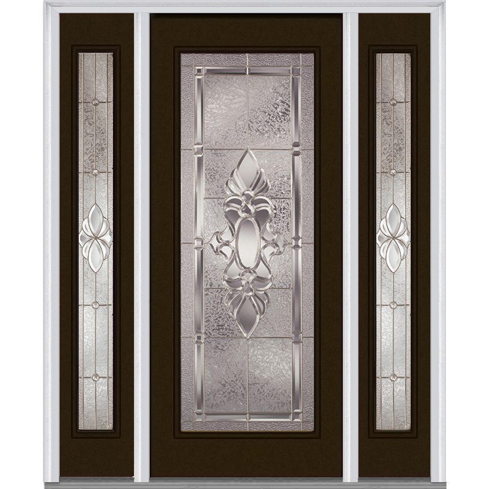 Milliken Millwork 60 in. x 80 in. Heirloom Master Deco Glass Full Lite Painted Builder's Choice Steel Prehung Front Door with Sidelites