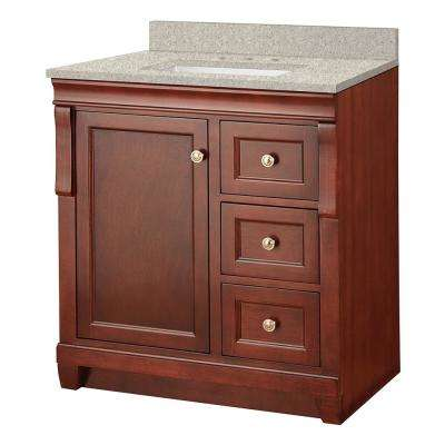Naples 31 in. W x 22 in. D Vanity in Tobacco with Engineered Marble Vanity Top in Sedona with White Sink
