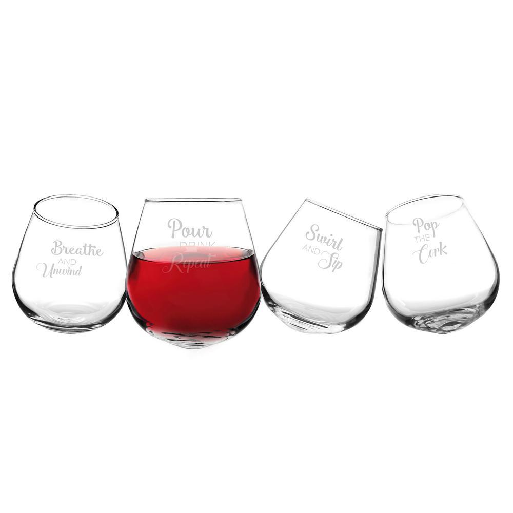 Pop the Cork 12 oz. Tipsy Wine Glasses (4-Pack)