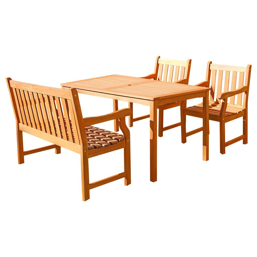 Malibu 4-Piece Wood Rectangle Outdoor Dining Set