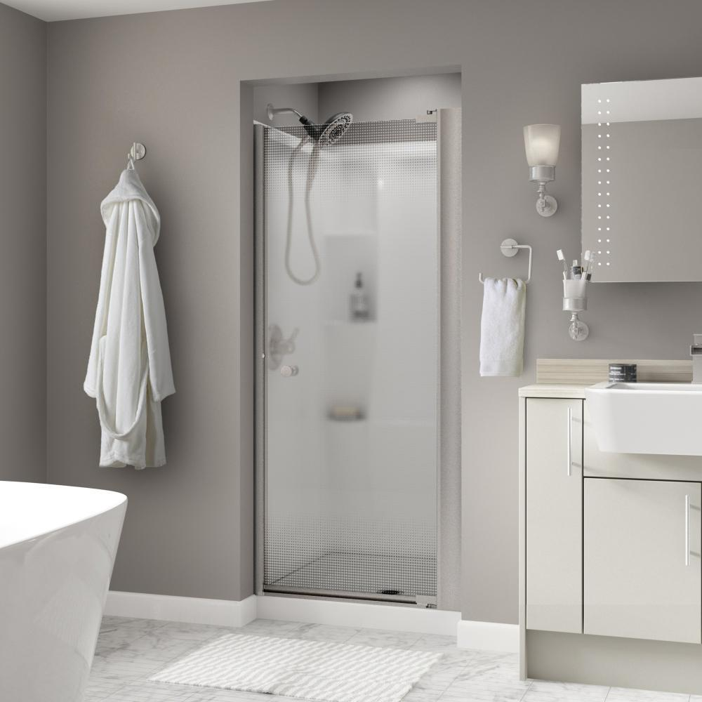 Delta Delta Lyndall 36 in. x 64-3/4 in. Semi-Frameless Contemporary Pivot Shower Door in Nickel with Droplet Glass