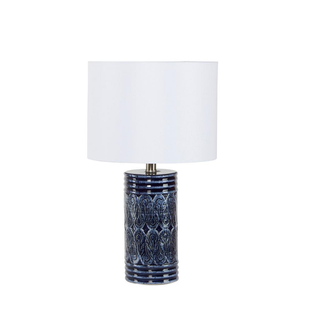Eira 20 in. Beige Cream Ceramic Cylinder Table Lamp